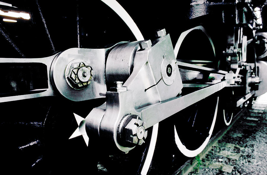 Components Photograph - Coupling Rods And Driver Wheels For A Steam Locomotive by Wernher Krutein