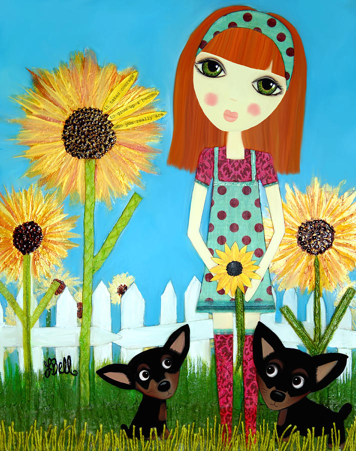 Sunflowers Painting - Courage 2 by Laura Bell
