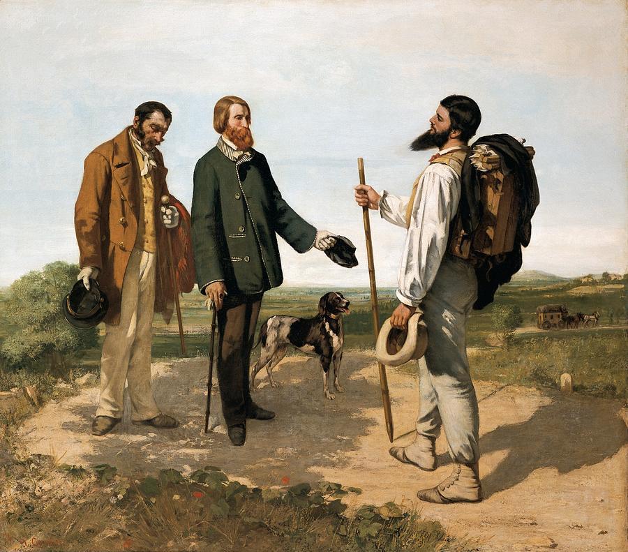 Horizontal Photograph - Courbetgustave 1819-1877. The Meetingor by Everett