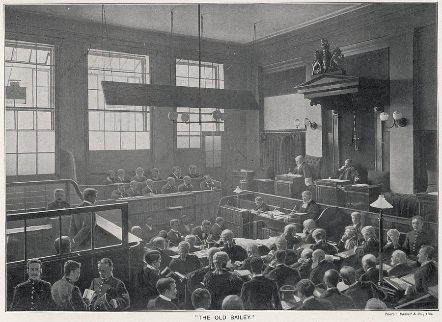 Old Photograph - Court Scene At The Old Bailey by Mary Evans Picture Library