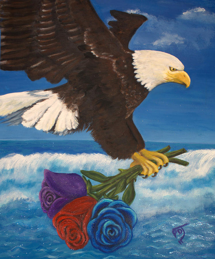 Eagle Painting - Courted By The Godhead by Pamorama Jones