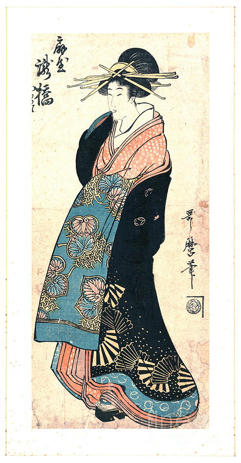 Ukiyo-e Photograph - Courtesan Takihashi Ogi-ya 1800 by Padre Art