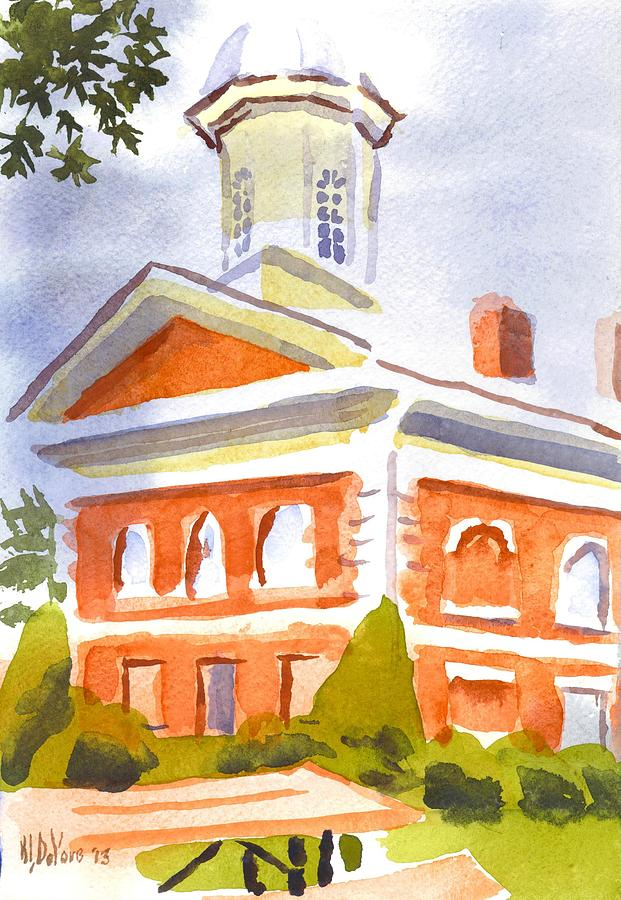 Colorful Painting - Courthouse With Picnic Table by Kip DeVore