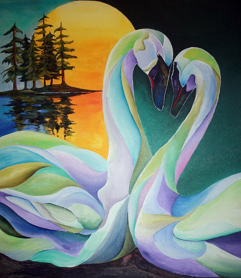 Swan Painting - Courting by Sherry Shipley