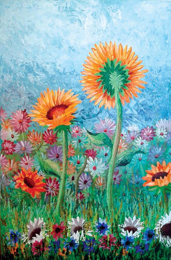 Palette Knife Technique Painting - Courting Sunflowers by Owen Lafon