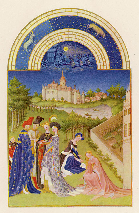 Noble Drawing - Courtly Life In The Grounds by Mary Evans Picture Library