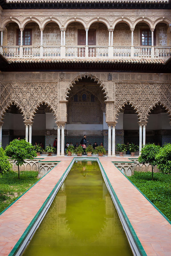 Seville Photograph - Courtyard Of The Maidens In Alcazar Palace Of Seville by Artur Bogacki