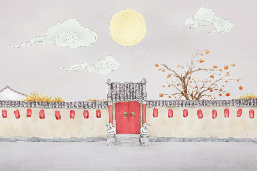 Courtyard Under The Full Moon Digital Art by Bji / Blue Jean Images