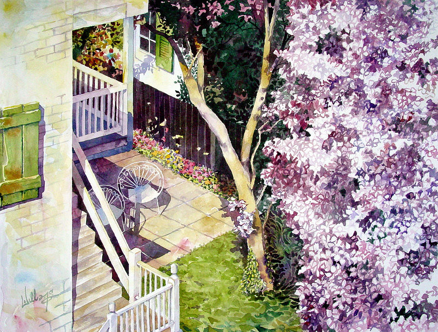 Watercolor Painting - Courtyard With Cherry Blossoms by Mick Williams