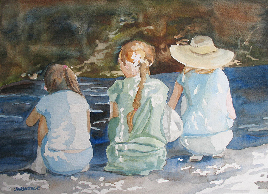 Brook Painting - Cousins At The Brook by Jenny Armitage