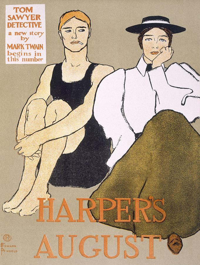 Bathing Costume Drawing - Cover Of Harpers Magazine, 1896 by Edward Penfield