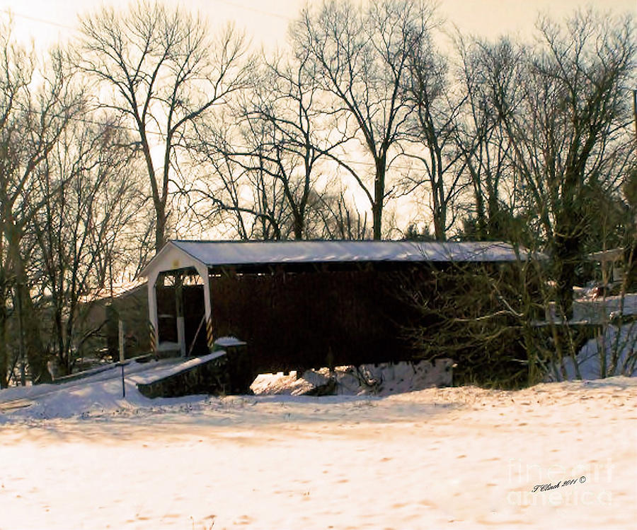 Landscape Photograph - Coverd Bridge In The Snow by Timothy Clinch