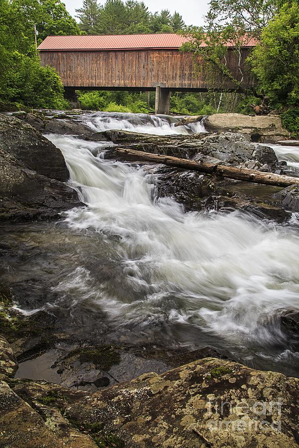 Vermont Photograph - Covered Bridge And Waterfall by Edward Fielding