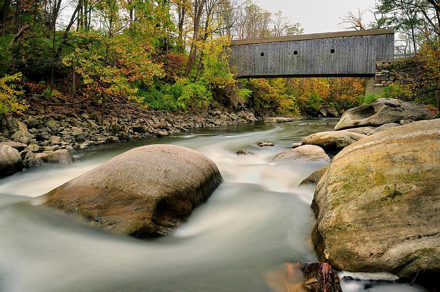 Covered Bridge Photograph - Covered Bridge At Bull Run - Kent Connecticut by Thomas Schoeller