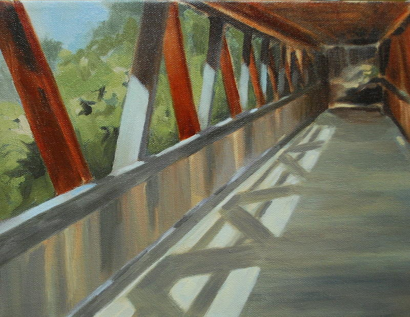 Landscape Painting - Covered Bridge At Roswell Mill by Jean Scanlin Wright