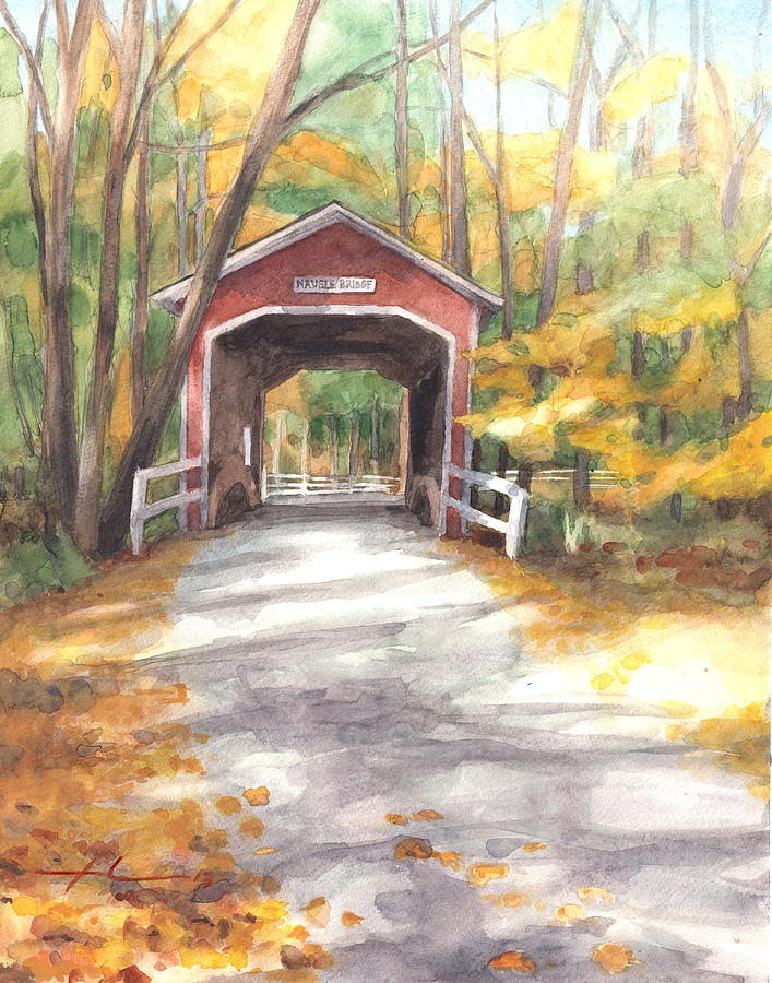 Covered Bridge Autumn Shadows Watercolor Painting Drawing by Mike Theuer