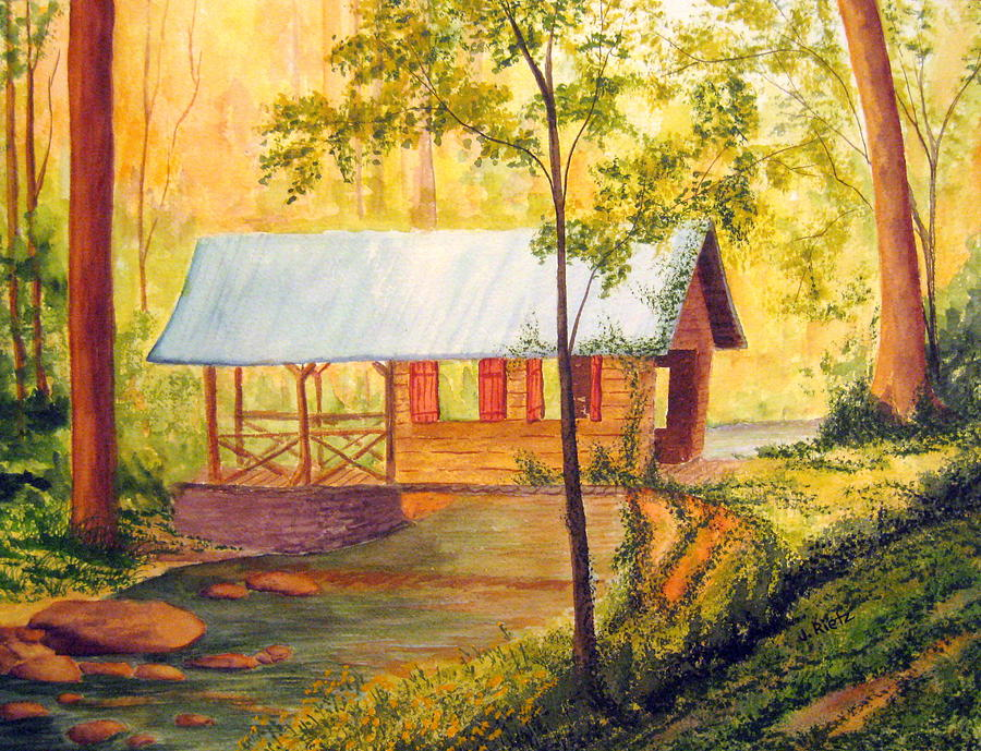 Landscape Painting - Covered Bridge Boone Nc by Julia Rietz