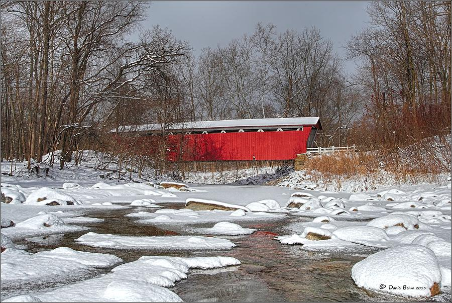 Everett Photograph - covered bridge Everett rd. by Daniel Behm