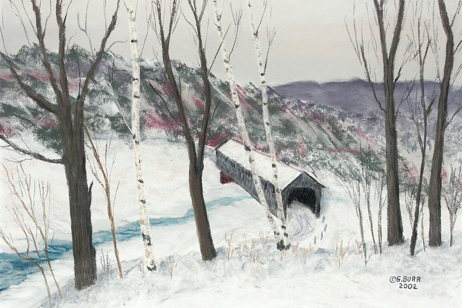 Nature Pastel - Covered Bridge by George Burr