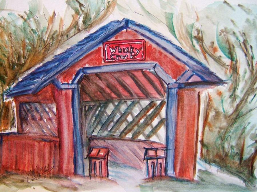 Covered Bridge Painting - Covered Bridge Loretto Kentucky by Elaine Duras