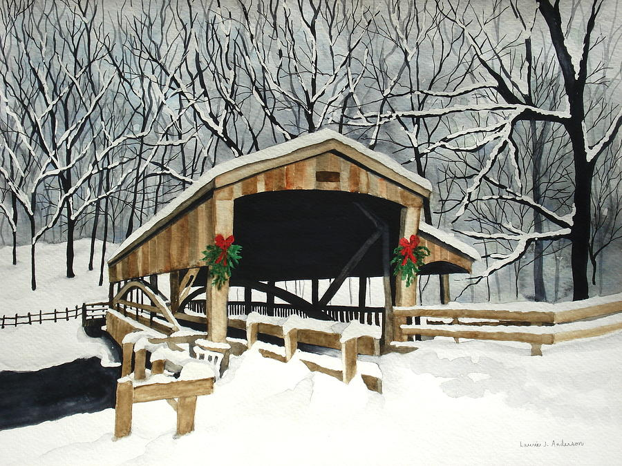 Bridge Painting - Covered Bridge - Mill Creek Park by Laurie Anderson