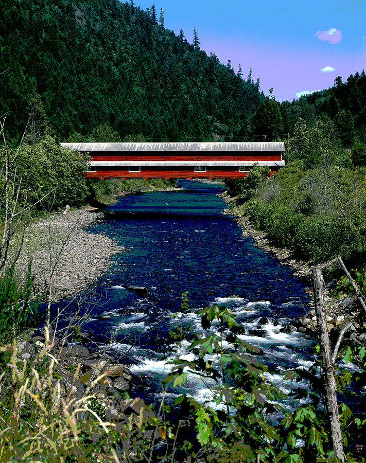 Covered Bridge Mixed Media - Covered Bridge The Office Bridge by Charles Shoup