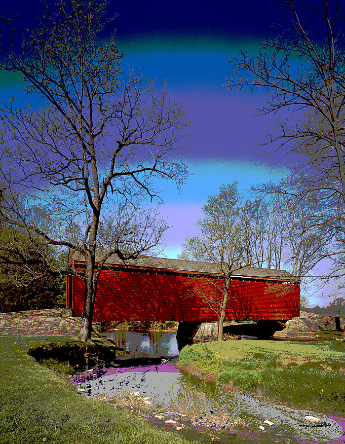 Covered Bridge Mixed Media - Covered Bridge Thurmont Maryland by Charles Shoup