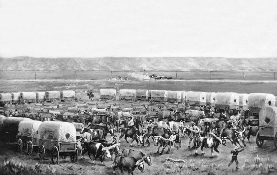 1875 Photograph - Covered Wagon Corral by W. H. Jackson