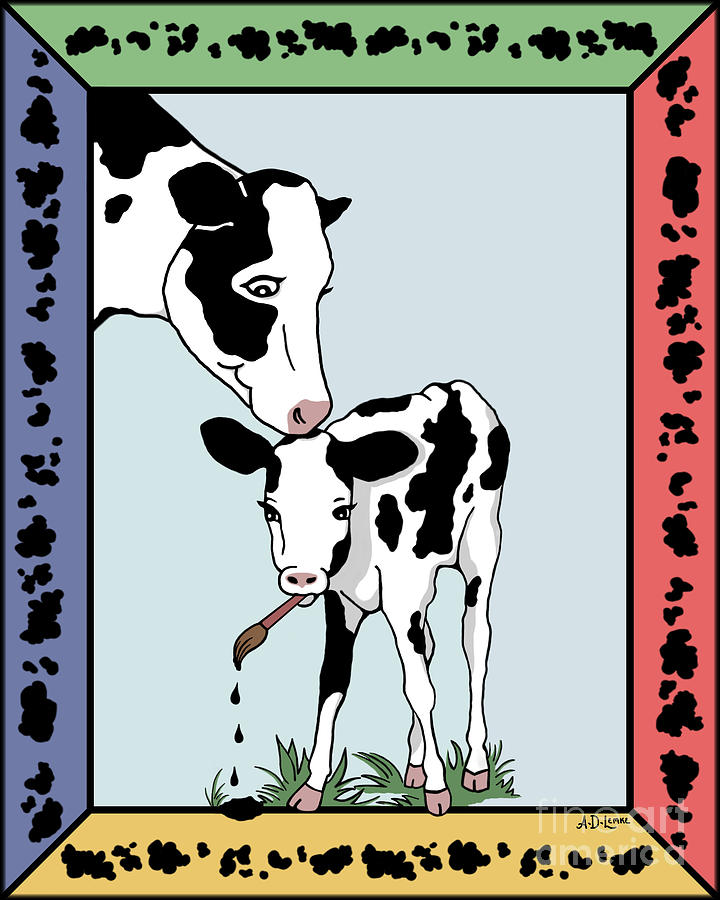 Cow Digital Art - Cow Artist Cow Art by Audra D Lemke