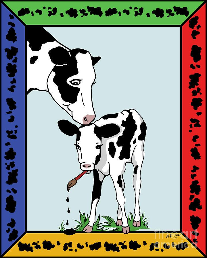 Cow Digital Art - Cow Artist Cow Art II by Audra D Lemke