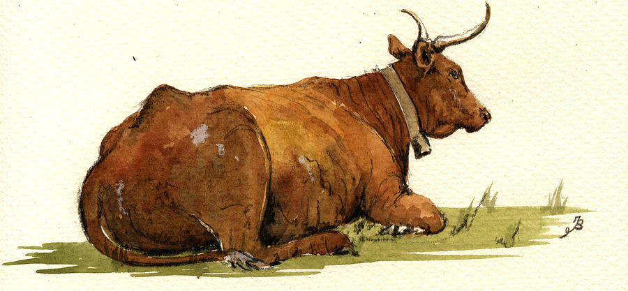 Grass Painting - Cow In The Grass by Juan  Bosco