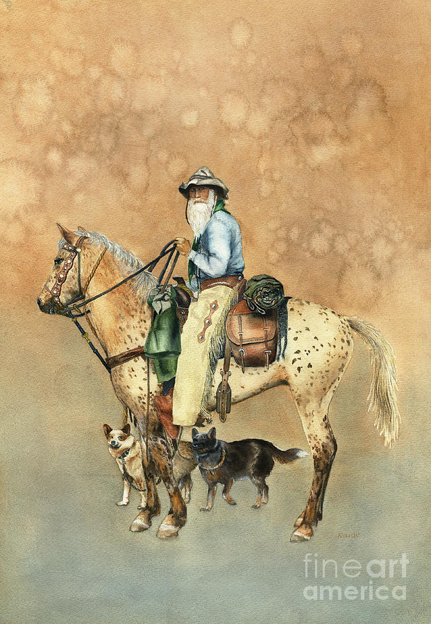 Horse Painting - Cowboy And Appaloosa by Nan Wright