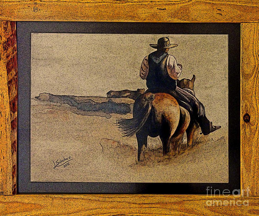 Oil Photograph - Cowboy Art By L. Sanchez by Al Bourassa