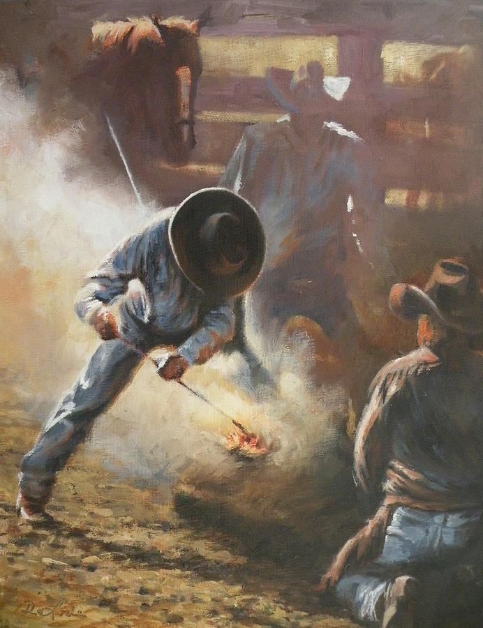 Cowboys Painting - Cowboy Bar-code by Mia DeLode