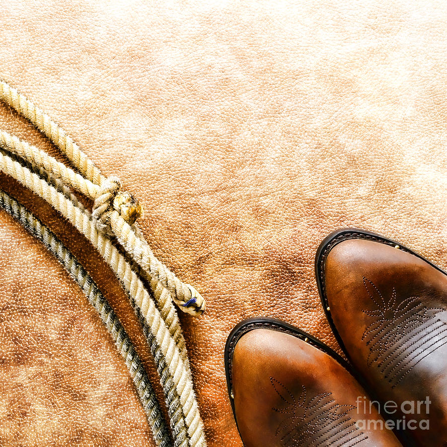 Rodeo Photograph - Cowboy Boots And Lasso by Olivier Le Queinec