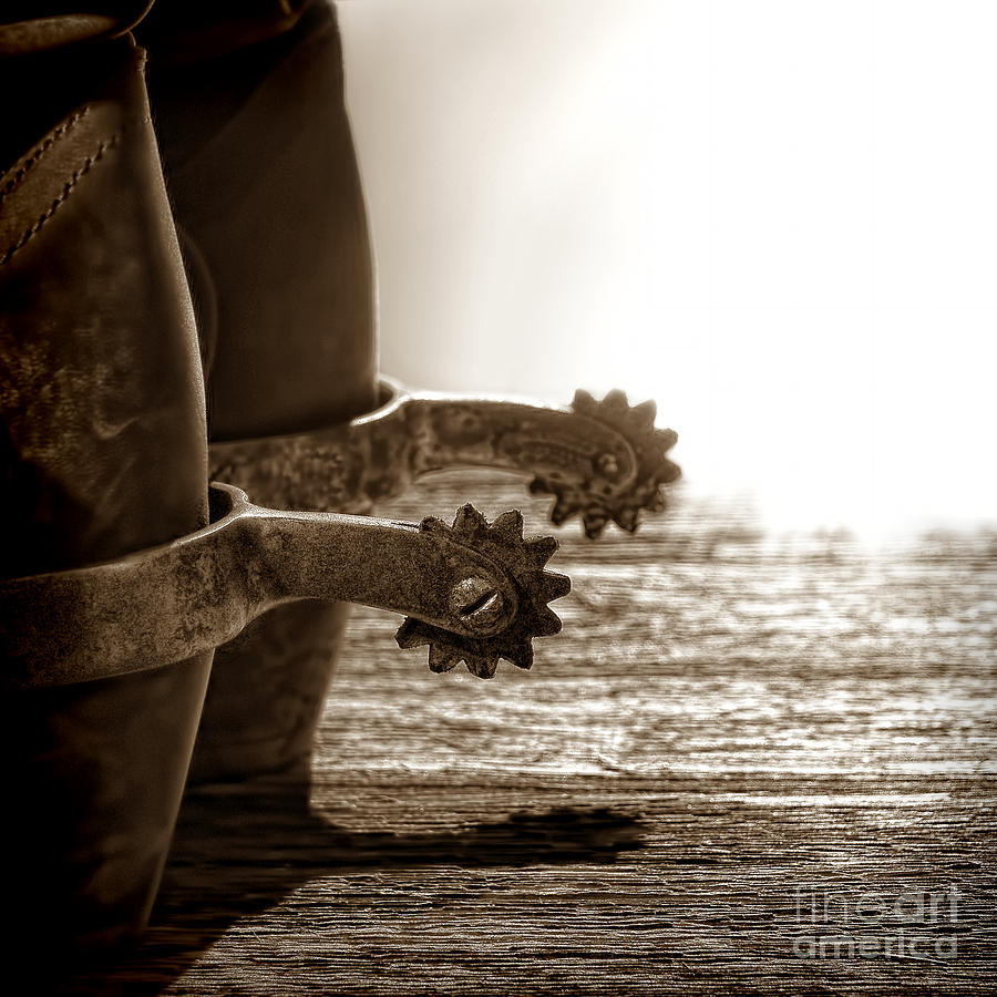 Cowboy Photograph - Cowboy Boots And Riding Spurs by Olivier Le Queinec