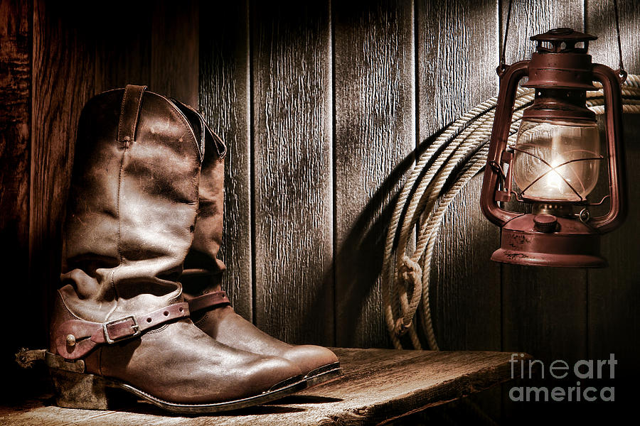 Boots Photograph - Cowboy Boots In Old Barn by Olivier Le Queinec