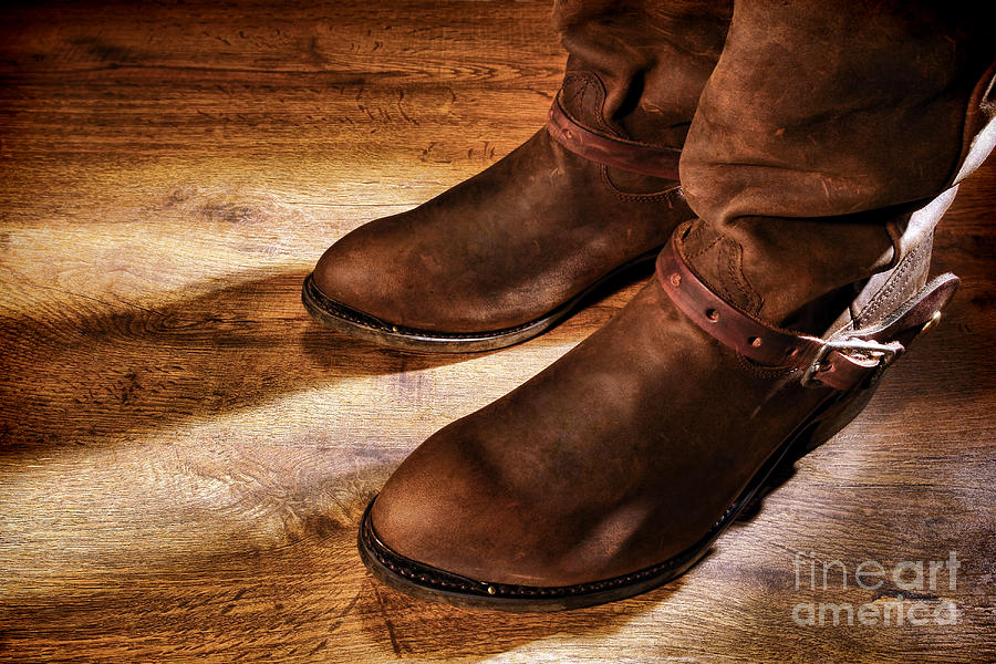 Boots Photograph - Cowboy Boots On Saloon Floor by Olivier Le Queinec