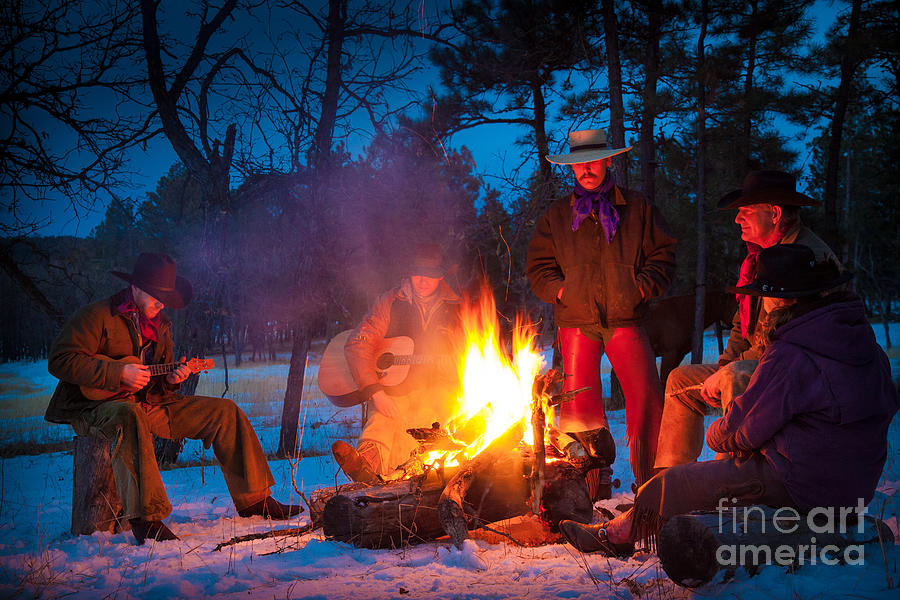 America Photograph - Cowboy Campfire by Inge Johnsson