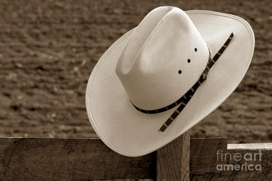 Western Photograph - Cowboy Hat On Fence by Olivier Le Queinec