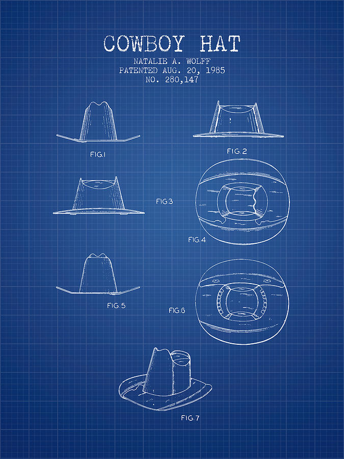cowboy hat patent from 1985 blueprint aged pixel cowboy hat patent from 1985 blueprint digital art by aged pixel