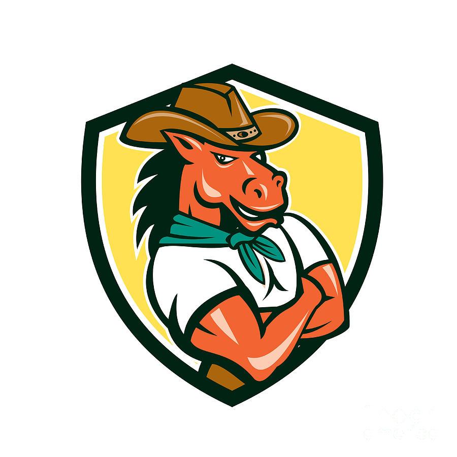 e12e13b2269 Cowboy Horse Arms Crossed Shield Cartoon Digital Art by Aloysius ...