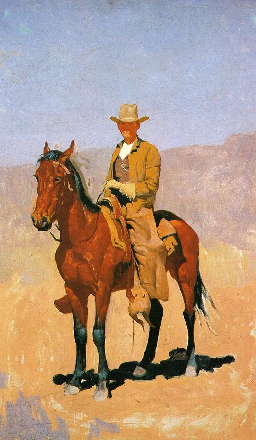 Frederic Remington Digital Art - Cowboy Mounted On A Horse by Frederic Remington