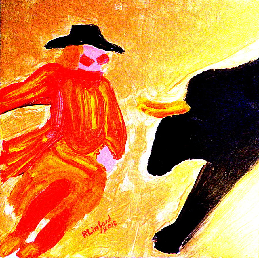 Cowboy Rodeo Clown And Black Bull 1 Painting by Richard W Linford