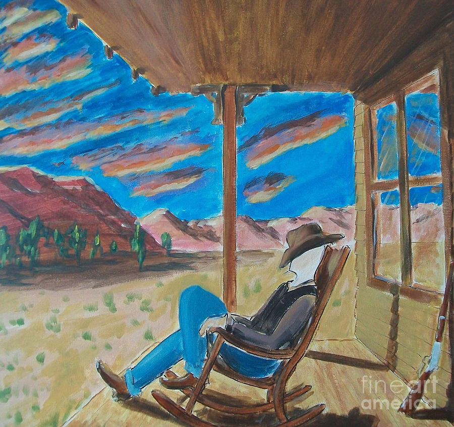 Western Painting - Cowboy Sitting In Chair At Sundown by John Lyes
