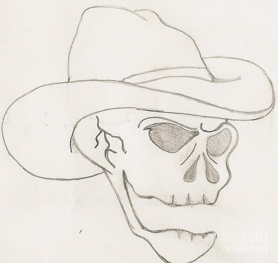 Cowboy Drawing - Cowboy Skull by Scott Williams