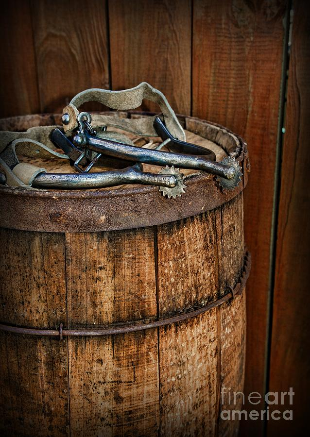 1a80bcb8a17 Barn Photograph - Cowboy Spurs On Wooden Barrel by Paul Ward