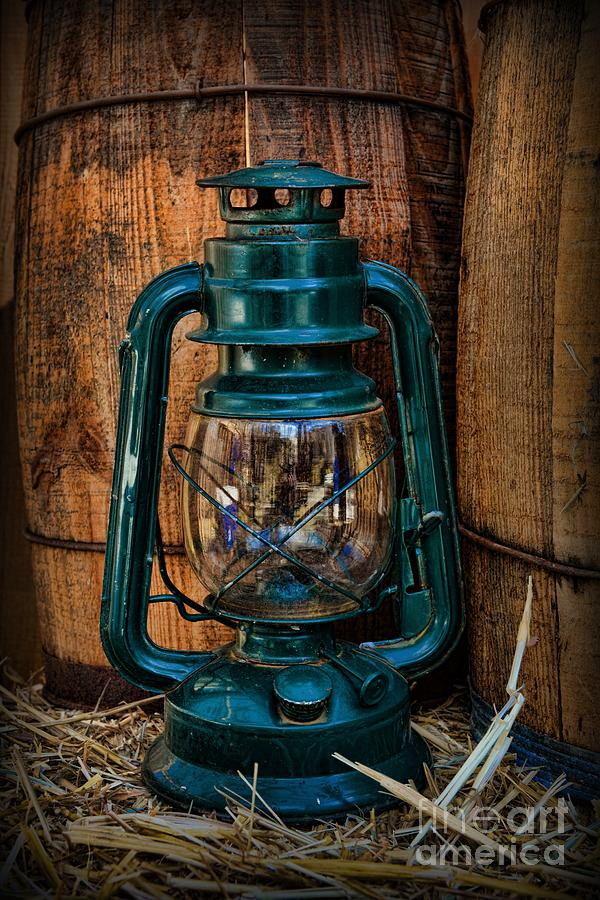 04033f5090a Cowboy Themed Wood Barrels And Lantern Photograph by Paul Ward