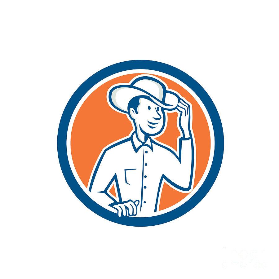 e1a84c90a6f Cowboy Tipping Hat Circle Cartoon Digital Art by Aloysius Patrimonio