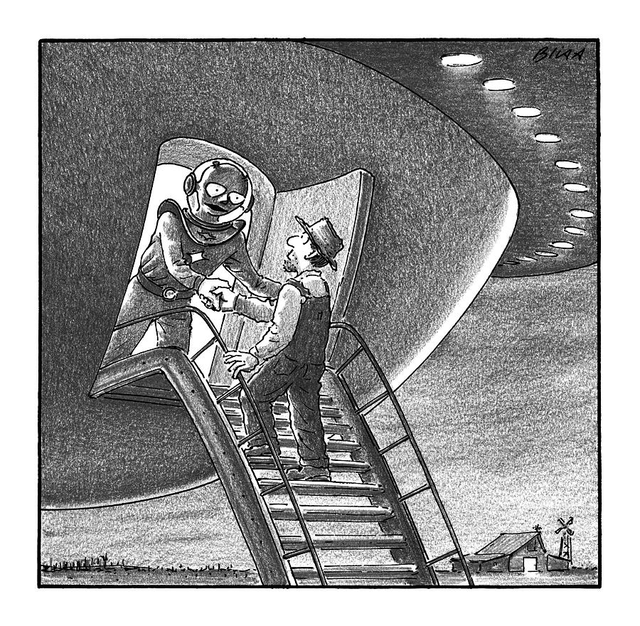 Ufo Drawing - Cowboy Walks Up To A Ufo Greeted By An Alien by Harry Bliss
